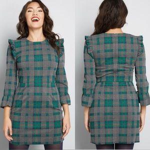 ModCloth Long Sleeve Plaid Mini Dress Teal Plaid